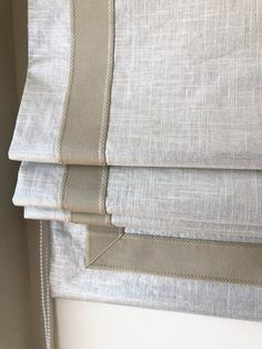 Linen Roman Shades, Custom Roman Shades, Modern Roman Shades, Cordless Roman Shades, Store Bateau, Relaxed Roman Shade, Grey Trim, Drapery Fabric, Drapes Curtains