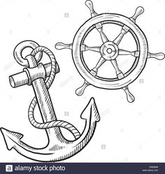 Ship's Wheel And Anchor Sketch Stock Photo, Royalty Free Image: 64544292 - Alamy