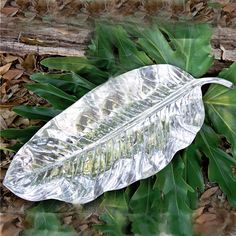 #Beatriz Ball Collection -- created in New Orleans - leaf platter in fine metalware. Just right for cool summer tasty delicacies.  Maybe a little shrimp remoulade? http://www.beatrizball.com/p-47-garden-zebra-leaf-platter-large.aspx