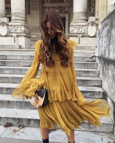 Top 10 Style Trends Right Now. Yellow flowy dress. #dressup #yellow #fashion
