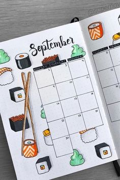 40 Adorable Septebmer monthly spread ideas for bullet journals! #monthlyspread #bulletjournal #bujoideas