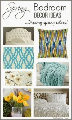 Spring Bedroom Decor Ideas : Update your bedroom for Spring with these dreamy, relaxing Spring colors, textiles and accessories!
