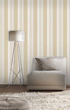 Empapelado - Rayado beige - Papel de parede