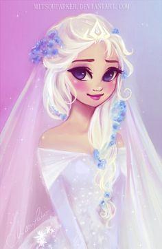 Elsa's Wedding ♡ mitsouparker.deviantart.com I hope her groom will be Jack Frost