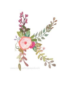 K Floral Letter Print by Makewells on Etsy