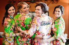 Cute kimono robes (including a the bride's with a monogram!) for the bridesmaids at Hadley and Kodi's Vintage Rustic Georgia Wedding at Fritz Farm. TR Photography