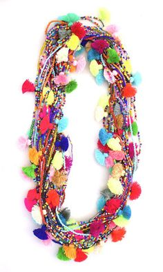 comes in a set of 3 colors will vary on each necklace seed beads and mini pom pom tassels Pom Pom Crafts, Yarn Crafts, Colorful Fashion, Diy Fashion, Colar Tribal, Hippie Accessoires, Collar Hippie, Crochet Necklace, Beaded Necklace
