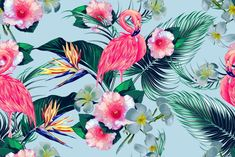 Tropical flowers, palm leaves, jungle plants, hibiscus, bird of paradise flower, pink flamingos seamless vector floral exotic pattern, hawaiian background by Tropicana on @creativemarket