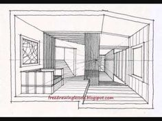 1 Point Perspective Room With Furnitures