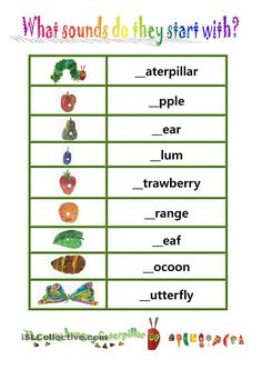 "Phionics-beginning sound with ""The very hungry caterpillar"" worksheet - Free ESL printable worksheets made by teachers Very Hungry Caterpillar Printables, Hungry Caterpillar Craft, Book Activities, Preschool Activities, Teaching Resources, Teaching Ideas, Chenille Affamée, Writing Worksheets, Printable Worksheets"