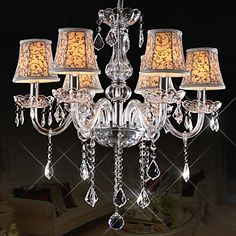 European Style Vintage 6 Lights lysekrone med Crystal Arm - DKK kr. 1.697