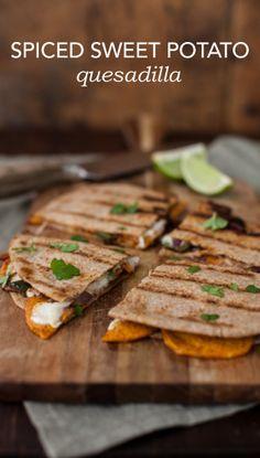 Spiced sweet potato quesadilla w poblano, red onion, mozz, smoked paprika, cilantro