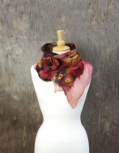 Felted collar nuno felted neck warmers felted flower by AnnaWegg