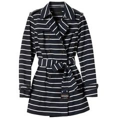 Banana Republic Stripe Trench Coat ($69) ❤ liked on Polyvore featuring outerwear, coats, double breasted coat, belted coat, cotton coat, double-breasted trench coats and striped coat