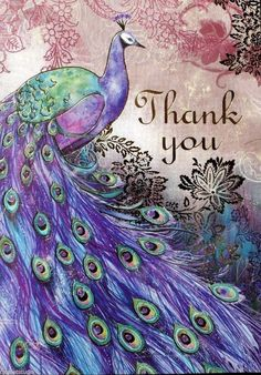pUNCH sTUDIO Single Lg Gold Foil Thank You Note Card- Purple Aiguillerie Peacock | Collectibles, Paper, Stationery | eBay!