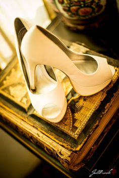 Wedding Details, white shoes, on a bible