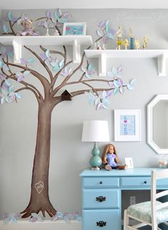 my 8 year old daughter decided on both lavender and blue for her room (me thinks it's a common favorite palette among the 8-12 group). I decided a pale gray paint was better in the long term for the walls, but we will certainly bring in some lavender and blue accents. I started by repainting her walls in a shade of pale gray ('Jade Frost' by Glidden)