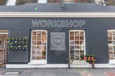Workshop in Brighton, England Remodelista Spa Interior Design, Restaurants, Double Door Design, Shop Facade, Loft, Brick And Mortar, Chula, Cafe Shop, Shop Fronts