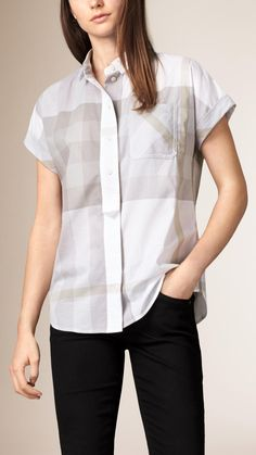 3138361d462a Exploded Check Cotton Voile Shirt Burberry Summer, Burberry Sale, Leather  Jacket, Love Fashion