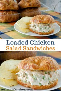 Loaded Chicken Salad Sandwiches includes the ingredients on a loaded baked potato. This version of creamy loaded chicken salad sandwiches includes what you would find on a loaded baked potato - sour cream, cheese, green onion, and bacon. Chicken Salad Recipes, Healthy Salad Recipes, Chicken Salad Recipe With Cream Cheese, Chicken Salad Sandwiches, Salad Chicken, Chicken Salad Croissant, Rotisserie Chicken Salad, Yummy Chicken Salad Sandwich Recipe, Chick Fil A Chicken Salad Recipe