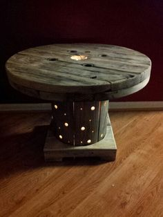 Spool and pallet table with lights. Use indoors or out.