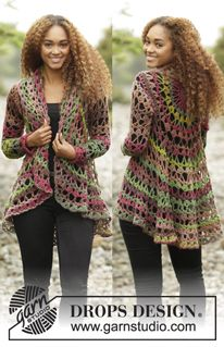 Nordic Mart - DROPS design one-stop source for Garnstudio yarns, free crocheting and knitting patterns, crochet hooks, buttons, knitting needles and notions. Gilet Crochet, Crochet Coat, Crochet Fall, Crochet Jacket, Crochet Cardigan, Crochet Scarves, Crochet Clothes, Crochet Sweaters, Crochet Shrugs