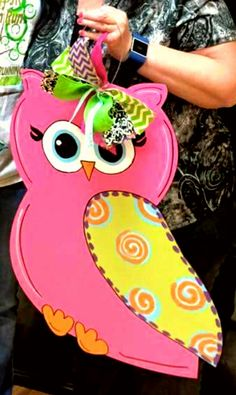 Owl Wooden Door Hanger □ painted at Craft Night Out located in Historic Downtown Statesville Nc