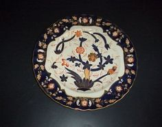 Copeland-Spode-Dinner-Plate-Antique-c-1879-Imari-Diamond-Registration-Mark