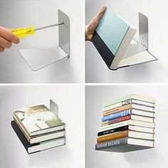 The invisible book shelf.  Cool for the office downstairs.