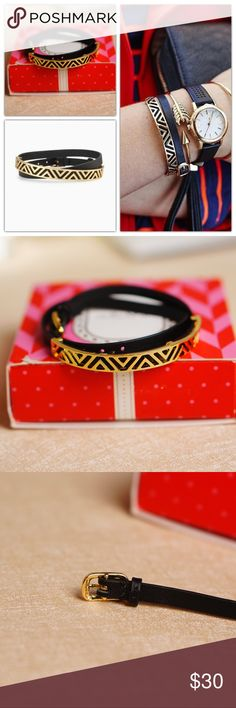 "Stella Dot Ally Double Wrap Black Leather Bracelet Brand new!   Shiny gold-plated malleable brass cuff with geometric detail sits atop a genuine leather double wrap band.  Looks super chic alone or paired with your favorite cuffs and bangles.   12 1/2"" adjustable to 14 1/2"".  Fits SM - LG wrists.  Check out more Stella & Dot Bracelets at my closet! Stella & Dot Jewelry Bracelets"