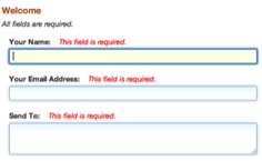 jQuery Validation Plugin in action on a simple contact form.