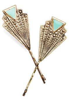 Deco-rate Your 'Do Hair Pin Set. Put the finishing touches on your outfit and slip these deco-inspired gold hairpins into your evening hairdo! #gold #modcloth