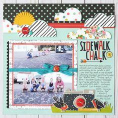 Sidewalk Chalk - Simple Stories Posh and Carpe Diem 12x12 Scrapbook, Scrapbook Sketches, Scrapbook Page Layouts, Scrapbook Paper Crafts, Photo Layouts, Scrapbooking Ideas, Bridal Shower Scrapbook, Kids Pages, Multi Photo