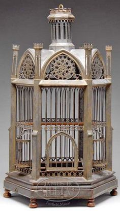 Bird Cage; Victorian, Tin, Hexagonal Gazebo Form, Gothic Arched Roof, Stepped Base, 25 inch.
