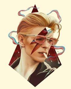 David Bowie Music, David Bowie Art, David Bowie Tattoo, David Bowie Starman, David Bowie Ziggy, Glam Rock, Music Poster, Illustration Art Nouveau, Pulp Fiction