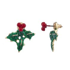 Goldtone Green Glitter Holiday Mistletoe Front Back Earrings - CW12NH6G6A1