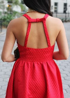 Holiday Party Outfit / Little Red Dress with Bow Detail