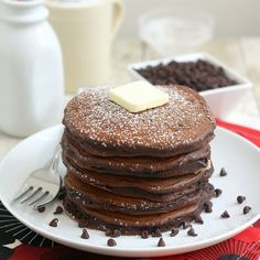 Chocolate Cookie Dough Pancakes by @Tracey Wilhelmsen (Tracey's Culinary Adventures)