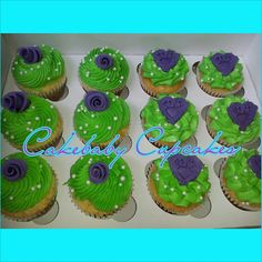 Lime Green, Purple, and White custom cupcakes for a Bridal Shower! Shower!