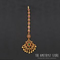 silver with gold plated tikka studded with semi precious stones. Gold Jhumka Earrings, Gold Earrings Designs, Gold Jewellery Design, Gold Plated Necklace, Gold Necklace, Head Jewelry, Ruby Jewelry, Silver Jewelry, Tika Jewelry