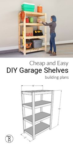 How to build cheap and easy DIY wood garage storage shelves with only 2 tools in 2 hours # Easy DIY storage Cheap and Easy DIY Garage Shelves Wood Storage Shelves, Garage Shelving, Garage Shelf, Built In Shelves, Firewood Storage, Floating Shelves, Build Shelves, Built Ins, Woodworking Furniture Plans