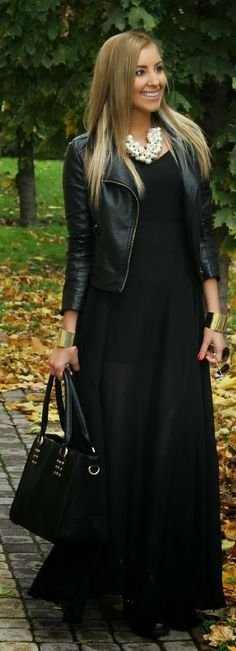 Hot all black winter fashion