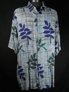 Croft and Barrow Button Up Shirt Mens Size XL Blues Greens Tropical Short Sleeve #CroftBarrow #ButtonFront