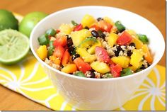 mexican couscous - bell peppers, lime, cilantro, black beans & avocado.
