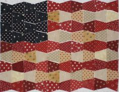 Great tumbler flag quilt idea by Roque Quilter Happy Flag Quilt, Patriotic Quilts, Quilt Blocks, Quilt Top, Blue Quilts, Small Quilts, Mini Quilts, Quilting Projects, Sewing Projects