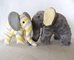 Yellow Grey Chevron---Elephant Plush Toys--Yellow Grey Nursery Decor--Custom Baby Gift-Elephant Baby gift