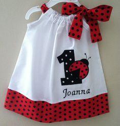 Ladybug birthday pillowcase dress Included by Valentinasplace, $32.00