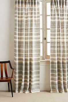 "Striped Linen Curtain - anthropologie.com 50""W x 8'H = $168 Black and White"