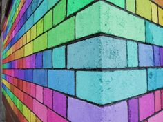 Painted bricks - I'm not too sure where I would do this, but I like it......I like it a lot.....