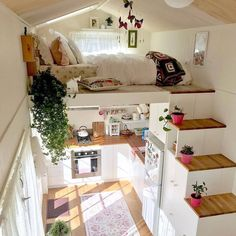 tiny house decor, tiny house design, tiny house interior, modern living room, living room decor We like spacious and airy interiors but the truth is a large house poses high demands in terms of costs and general maintenance Tiny Loft, Tiny Tiny, Tiny House With Loft, Small House Diy, Tiny House Closet, Living Room Decor, Bedroom Decor, Decor Room, Master Bedroom
